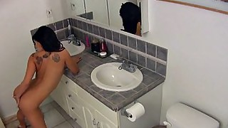 amateur babe bathroom masturbation playing pornstar